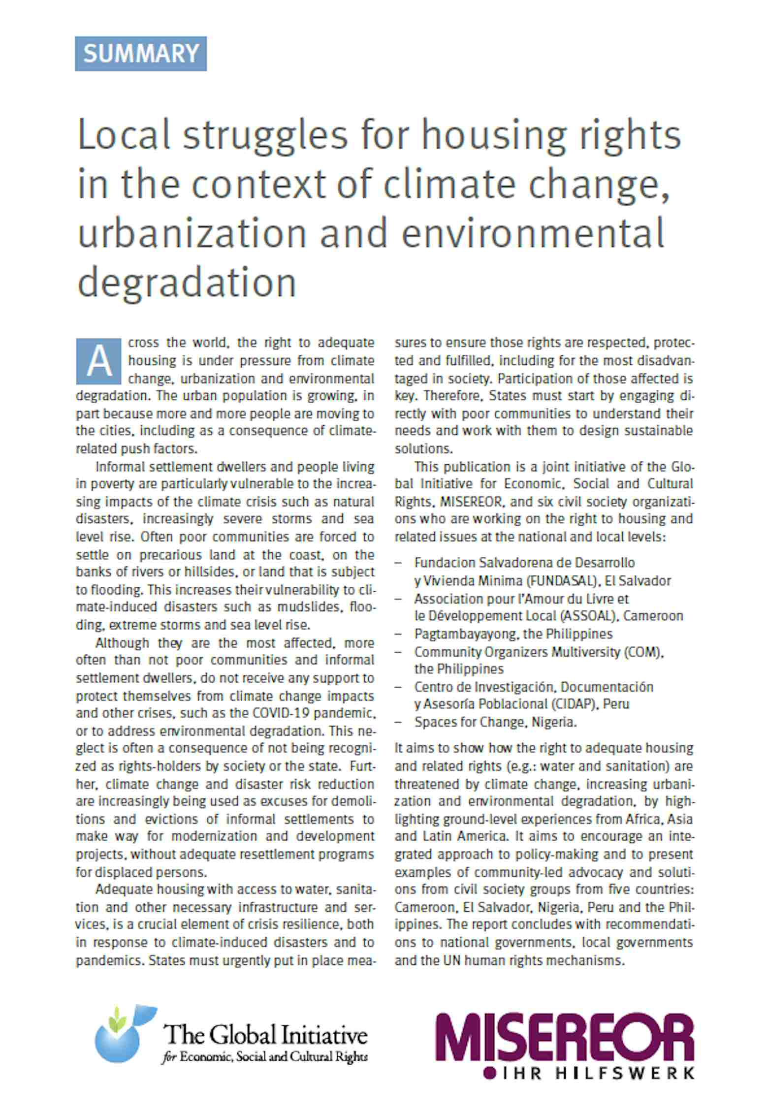 Local struggles for housing rights in the context of climate change, urbanization and environmental degradation – Summary